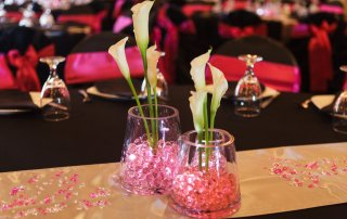 wedding table set at longmeadow event center