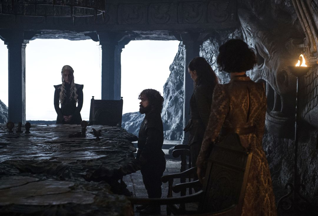 Daenerys at her council meeting with Yara, Ellaria and Tyrion Lannister at Dragonstone in the episode Stormborn.