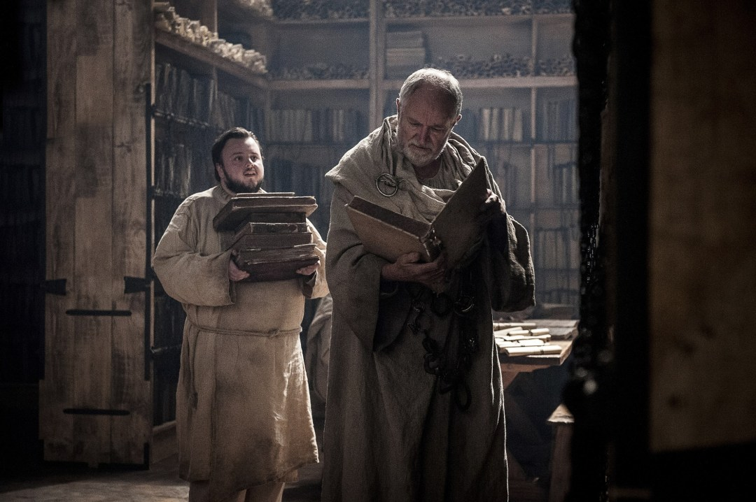 Sam Tarly talking to the Maester in the episode Stormborn