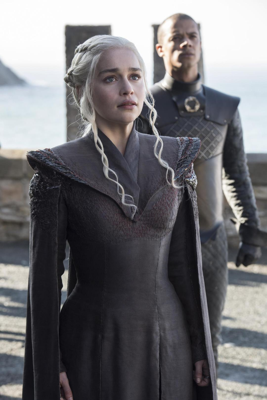 Daenerys in awe when she arrives at Dragonstone where she was born