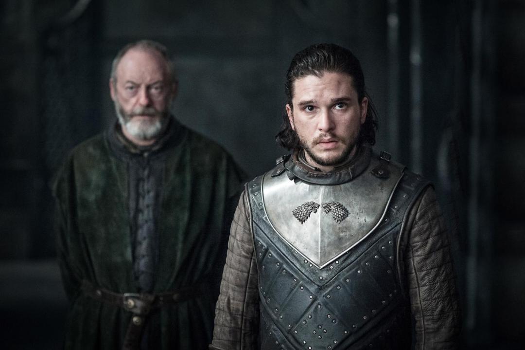 Jon Snow with Ser Davos at Dragonstone