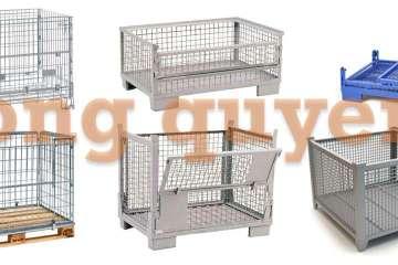Pallet sắt vách lưới xếp chồng pallet lưới chứa hàng