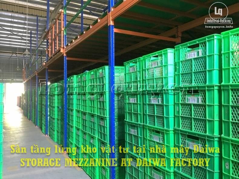 Sàn tàng lửng kho vật tư khung giá kệ pallet lắp ráp tại nhà máy DAIWA (11)