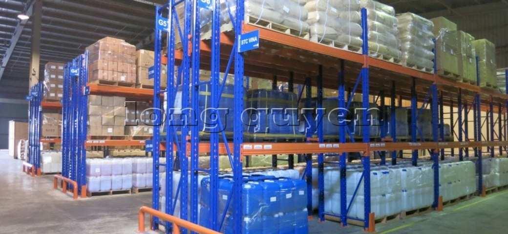 Kệ sắt kệ chứa pallet lưu trữ loại 3 thanh beam một tầng kho hàng công ty ALS (heading)
