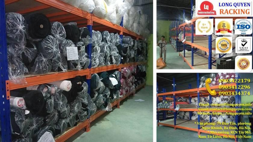 Giá kệ chứa vải cuộn kệ kho để vải công ty May Hưng Hà (9)