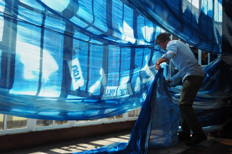 Cyanotype created by Mark Aston and the community in Morecambe