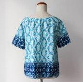 szycie na maszynie, szycie ubrań, blo o szyciu, bluzka handmade, szycie bluzki, letnia bluzka, ubrania handmade, bluzka boho, boho top, printed boho top