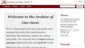 It's really not that surprising that Archive of Our Own is one of my most visited sites.
