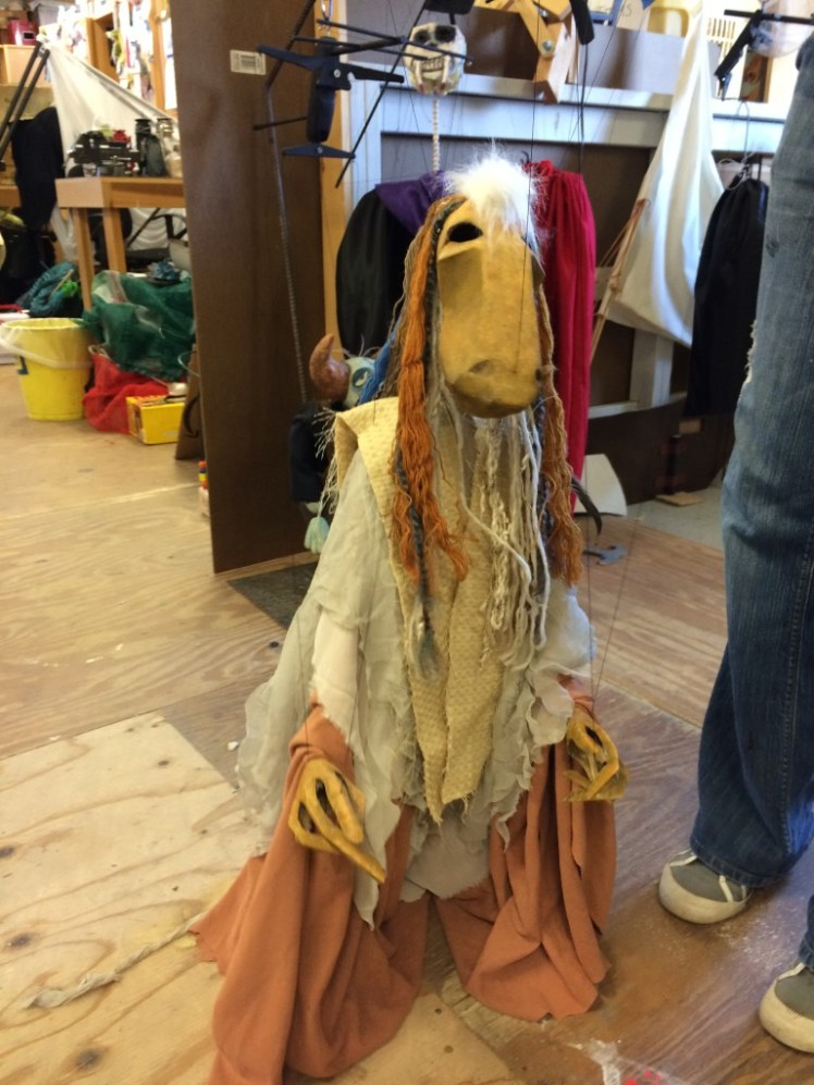 This horse marionette is the latest addition to Ana's puppet creations. While the face took two hours to construct, the finished puppet took two weeks from conception to completion.