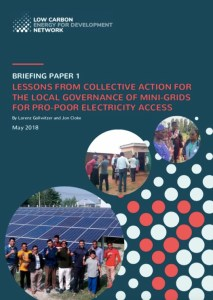 LCEDN Briefing Paper 1 Lessons from Collective Action for the Local Governance of Mini-Grids for Pro-Poor Electricity Access Cover