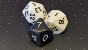 Two 10 sided dice and a 20 sided die.