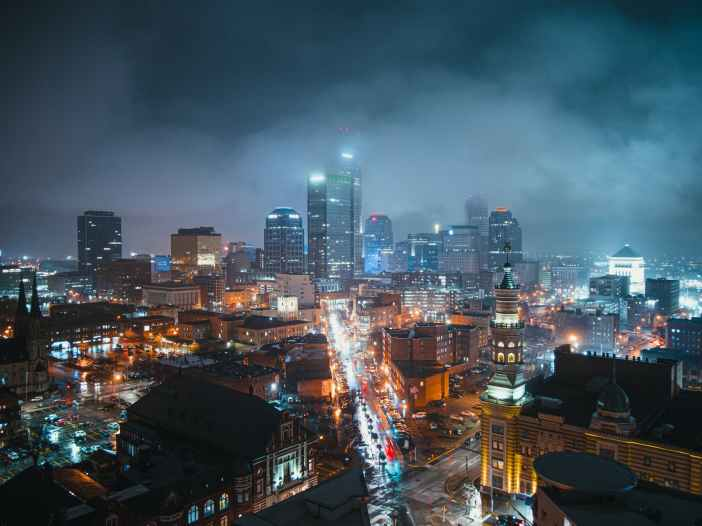bird s eye view photography of lighted city