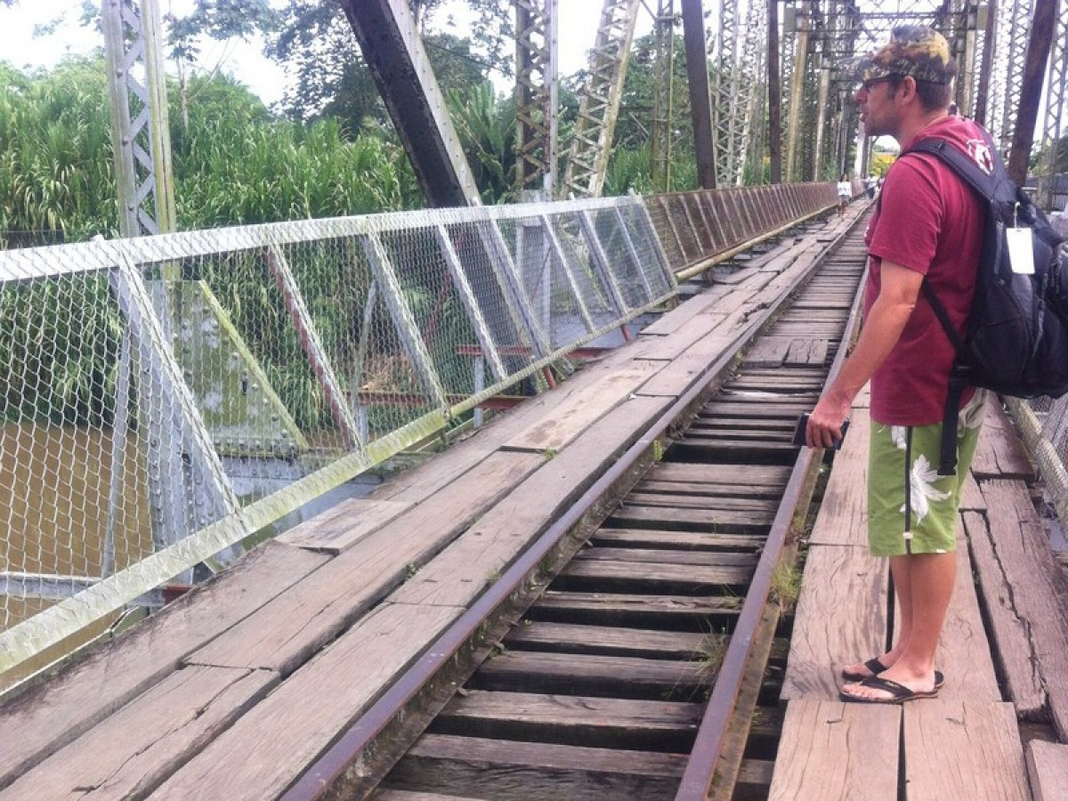 Ian contemplates the treacherous bridge at the border crossing!