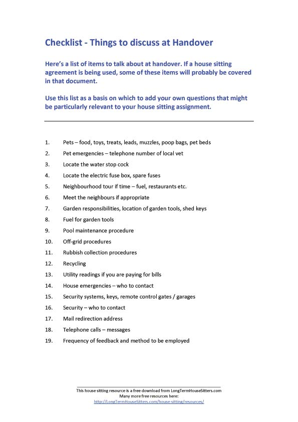 house sitting checklist - Monza berglauf-verband com