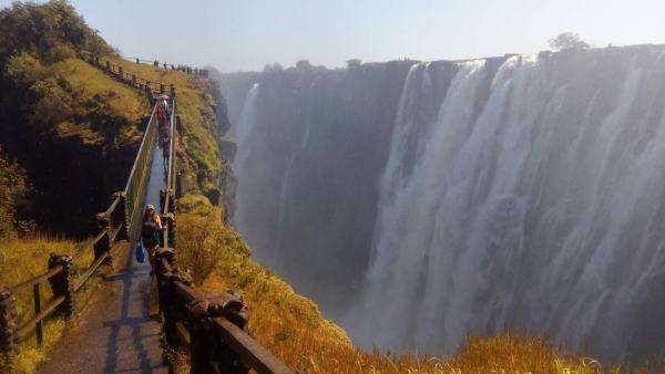 Crossing Knife Edge Bridge on the Zambia side of Victoria Falls.
