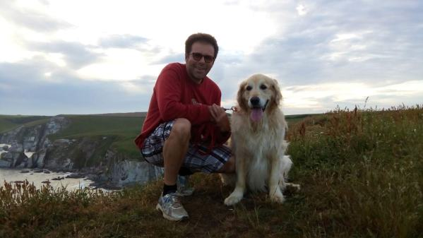 Ian and Probie on the cliff-top above Ayrmer Cove, Devon