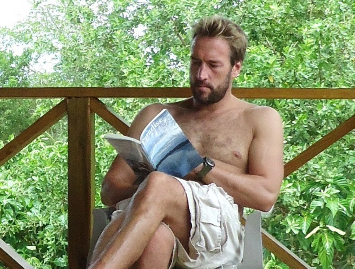 "Ben reading Ian's book ""Paradise Delayed"""