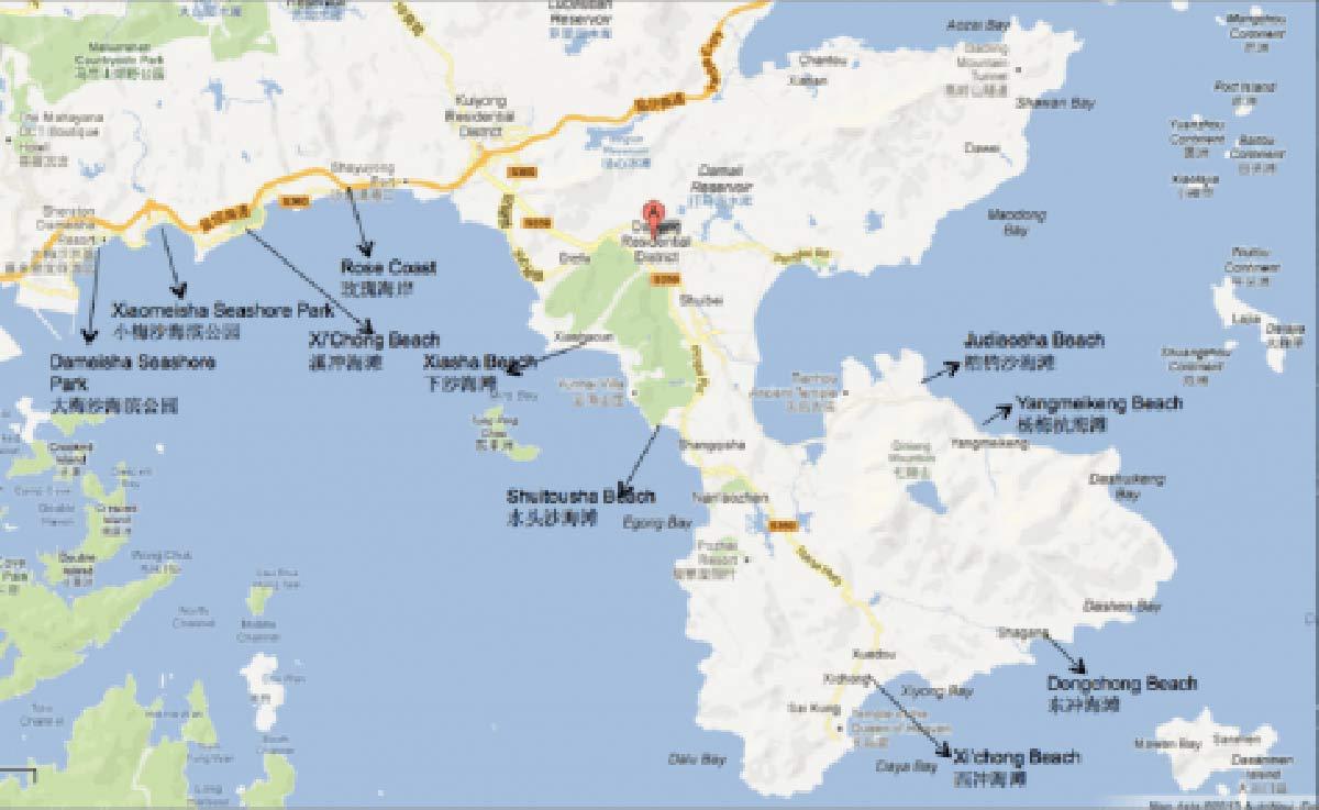 Map of the Dapeng Penninsula (courtesy of Shenzhen Party)