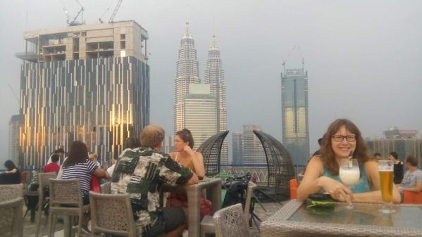 Sunset drinks at the rooftop HeliBar in downtown Kuala Lumpur, Malaysia