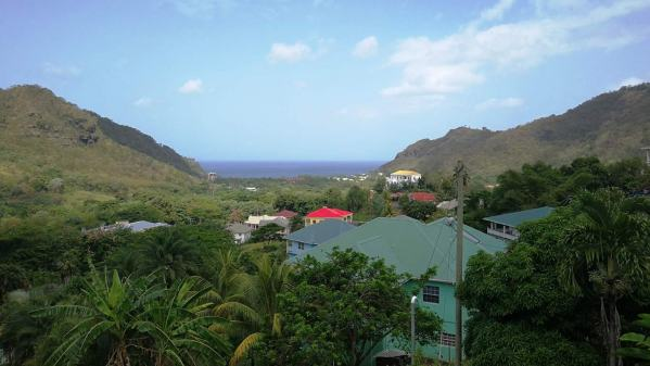 The view from the balcony down to Buccament Bay