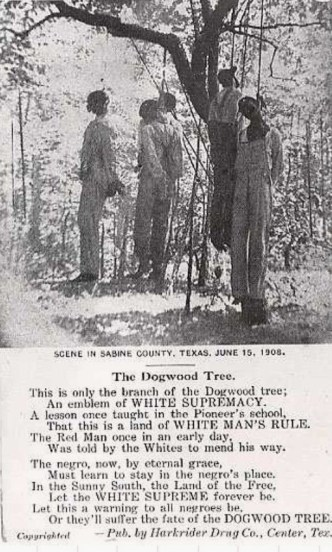 Lynchings were commemorated with Lynching postcards