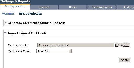 Import Root CA Certificate to vShield Manager
