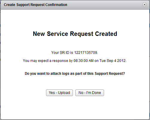 vCenter-Support-Assistant-SR-Created