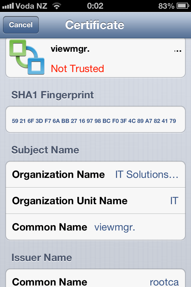 Installing Corporate CA Certificates on iPhone or iPad for Use with VMware View (2/6)