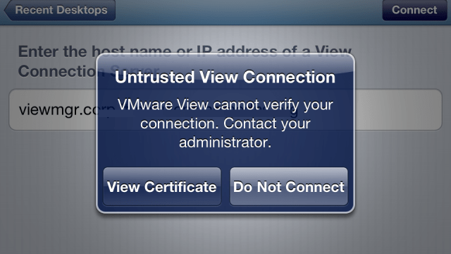 Installing Corporate CA Certificates on iPhone or iPad for Use with VMware View