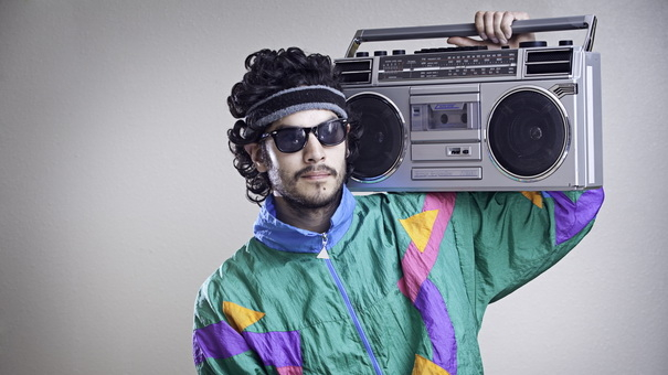 80's guy with a boombox on his shoulder