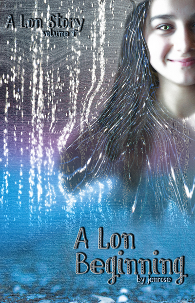 Book Cover for A Lon Beginning shows Kel, an android, projected on a concrete wall. Her eyes are unsettling, and the lighting is harsh. There are metallic threads running through her hair, and the wall behind her streams with brilliant droplets of light. The image shades from grey through purple, cyan and azure in a complex gradient from top to bottom. This composite image gives a very science fiction feel to the book cover.