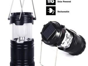 Linterna portatil leds campamento solar, baterias, power bank, interperie