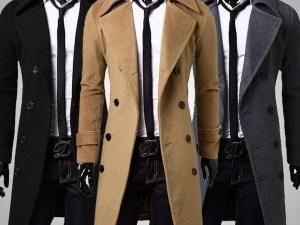 Abrigo elegante vestir largo caballero corte slim fit
