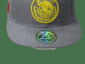 Gorra tipo patriota con logo amarillo y bandera Mexico bordado