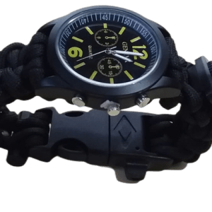Reloj manecillas paracord 263 Supervivencia Brujula Pedernal