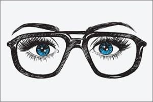 Blaue Augenpartie mit dicker Pilotenbrille