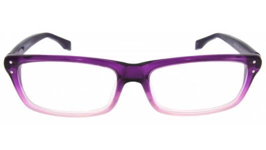 Rechteckige Kunststoffbrille in lila und rosa