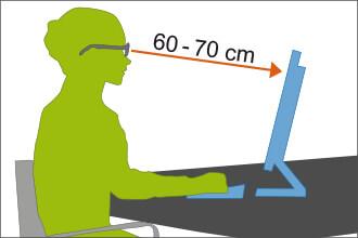 Optimaler Abstand zwischen Auge und Monitor