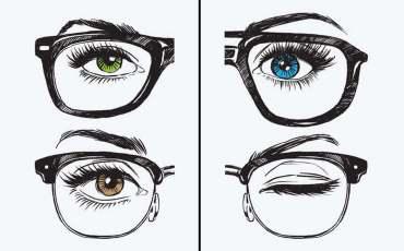verschiedene Augenfarben mit Brille