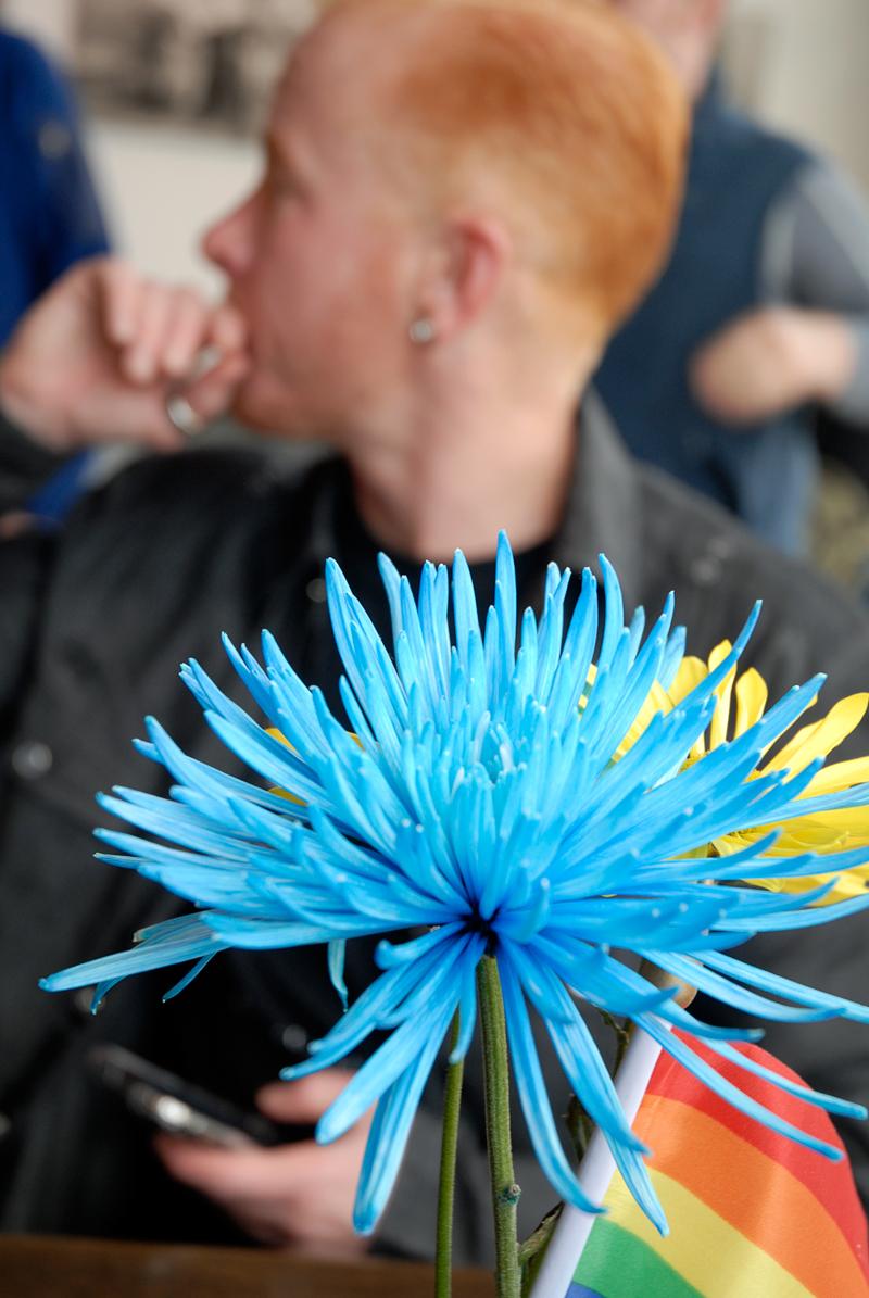 Dean at Kasa with flowers on Pride weekend in SF