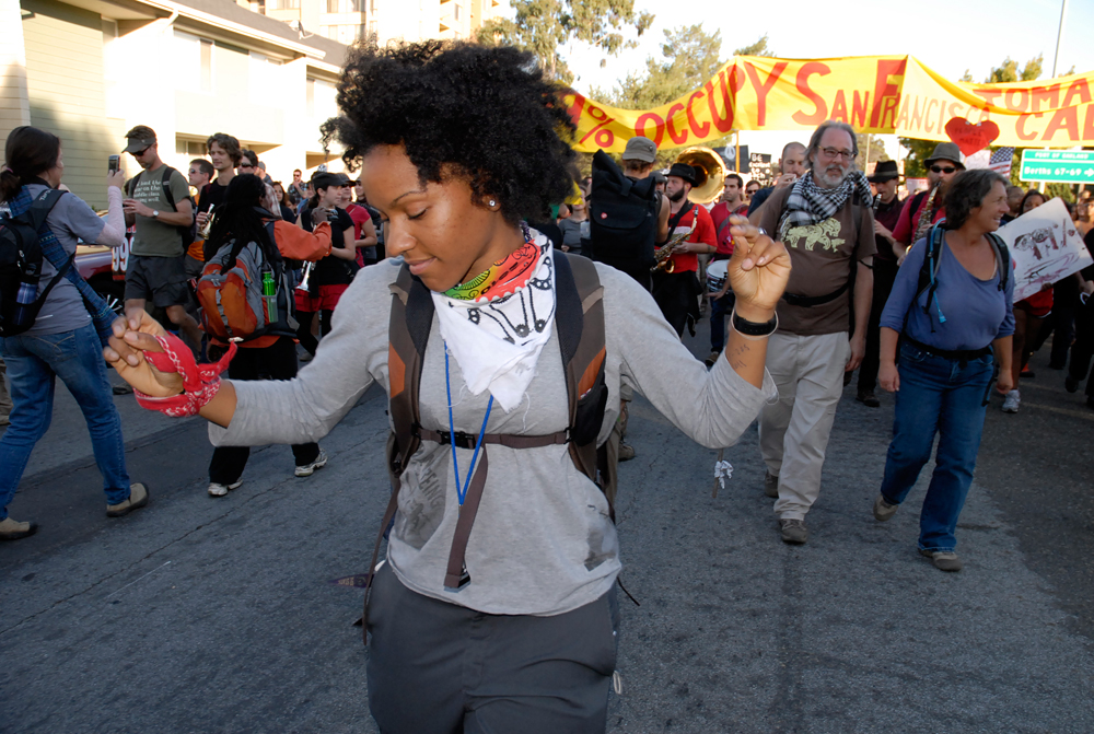 Occupy Oakland General Strike marcher - en route to the Port of Oakland