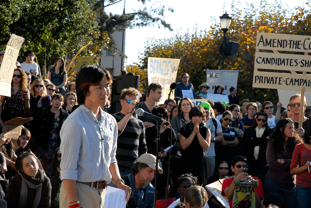 Speaker before the march at Occupy Cal Strike at Sproul Plaza