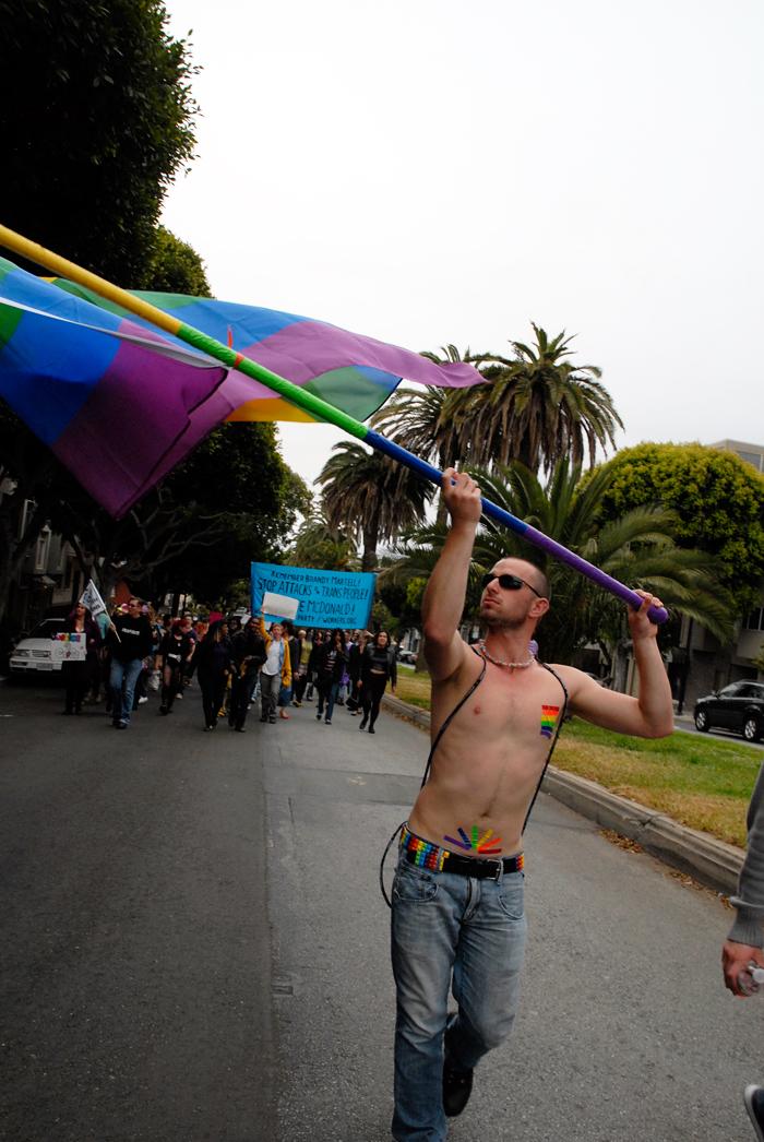 Rainbow flag marchers