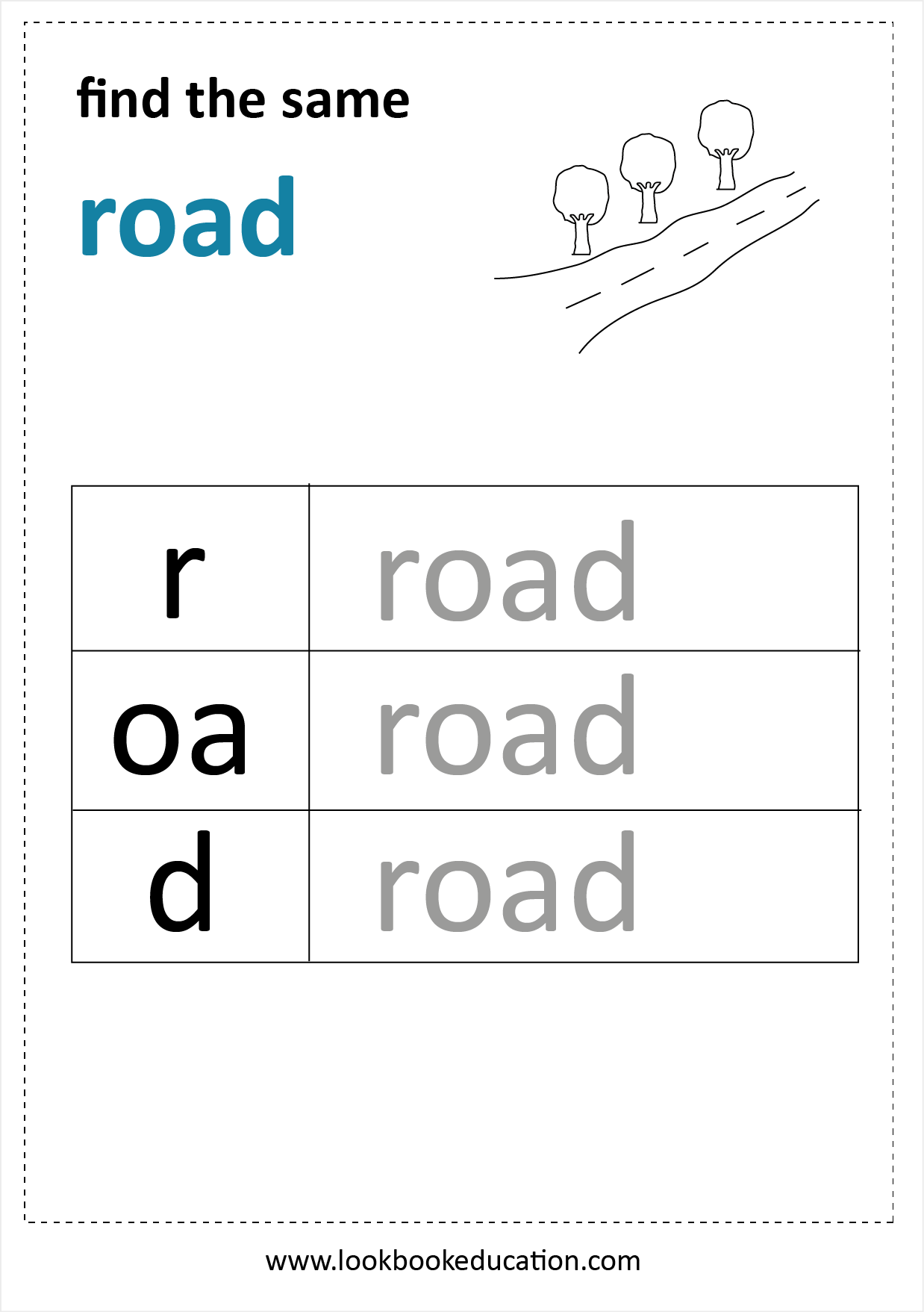 Worksheet Road