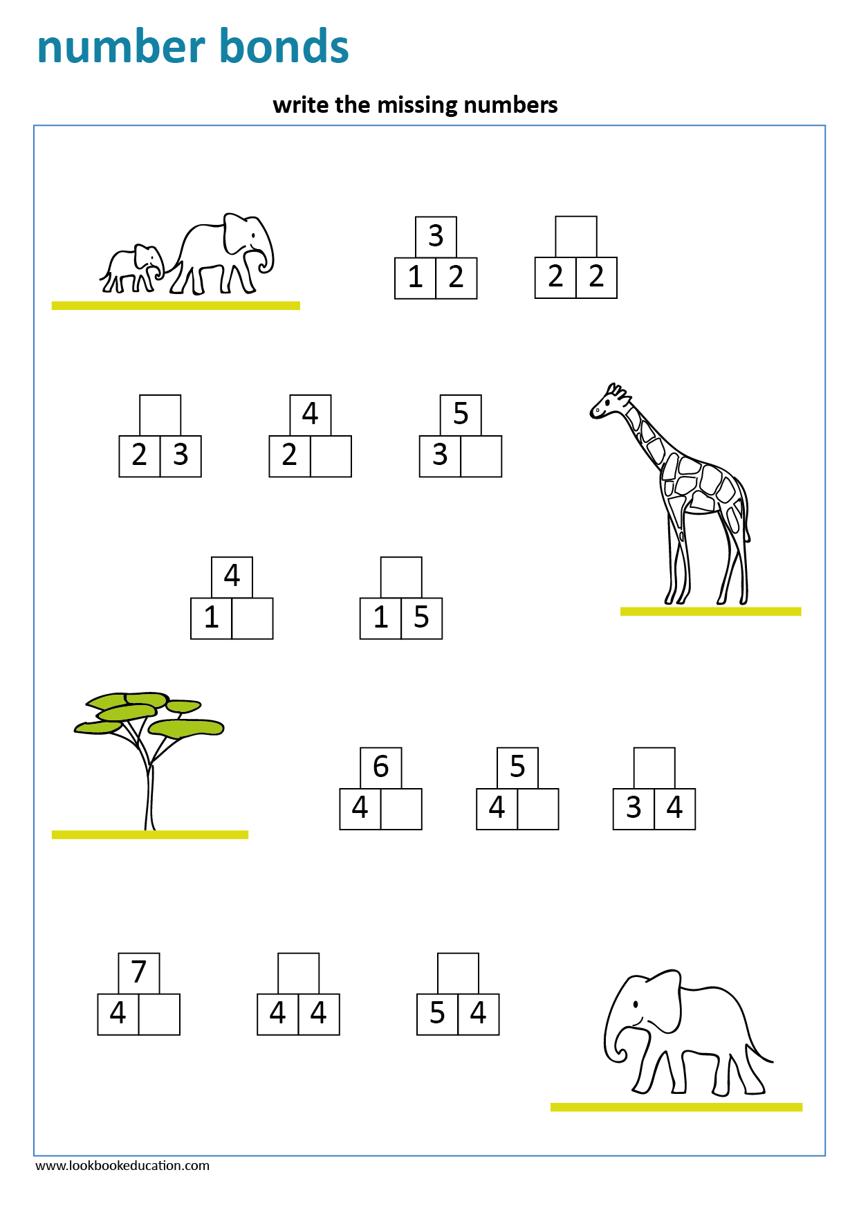 Worksheet Number Bonds Elephants