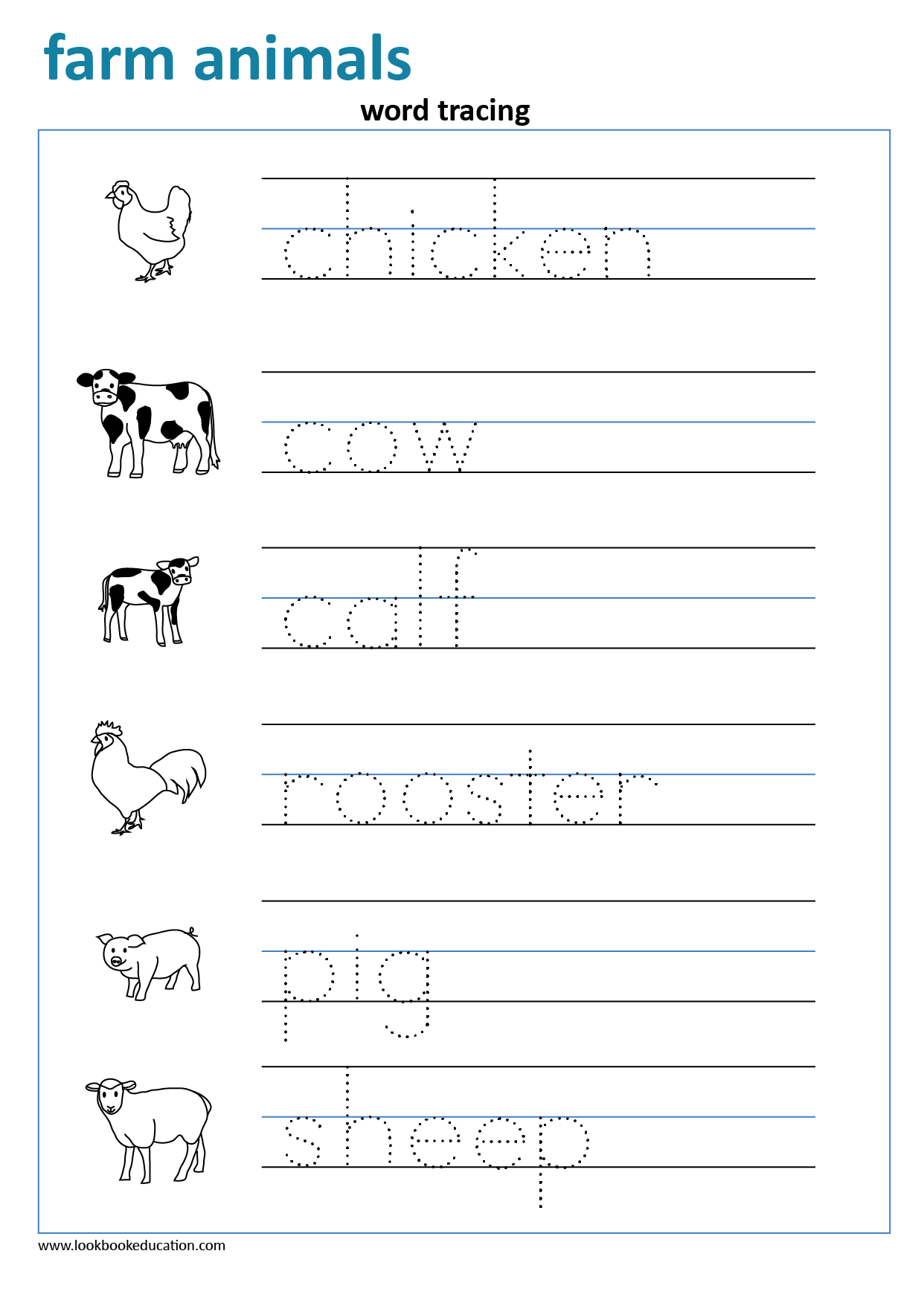 Worksheet Word Tracing Farm Animals