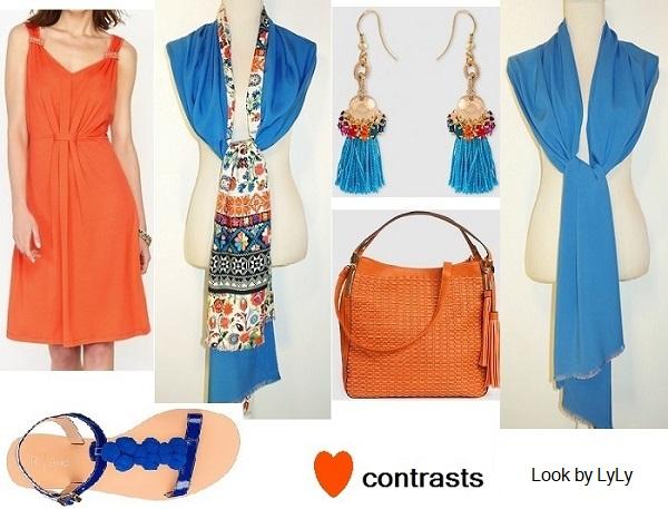 look en naranja y azul