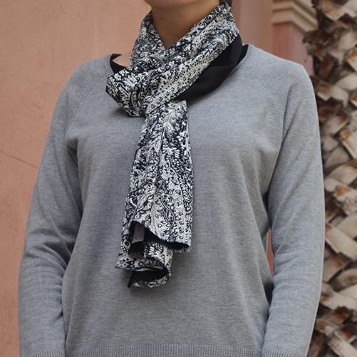 Bufanda mujer negro gris