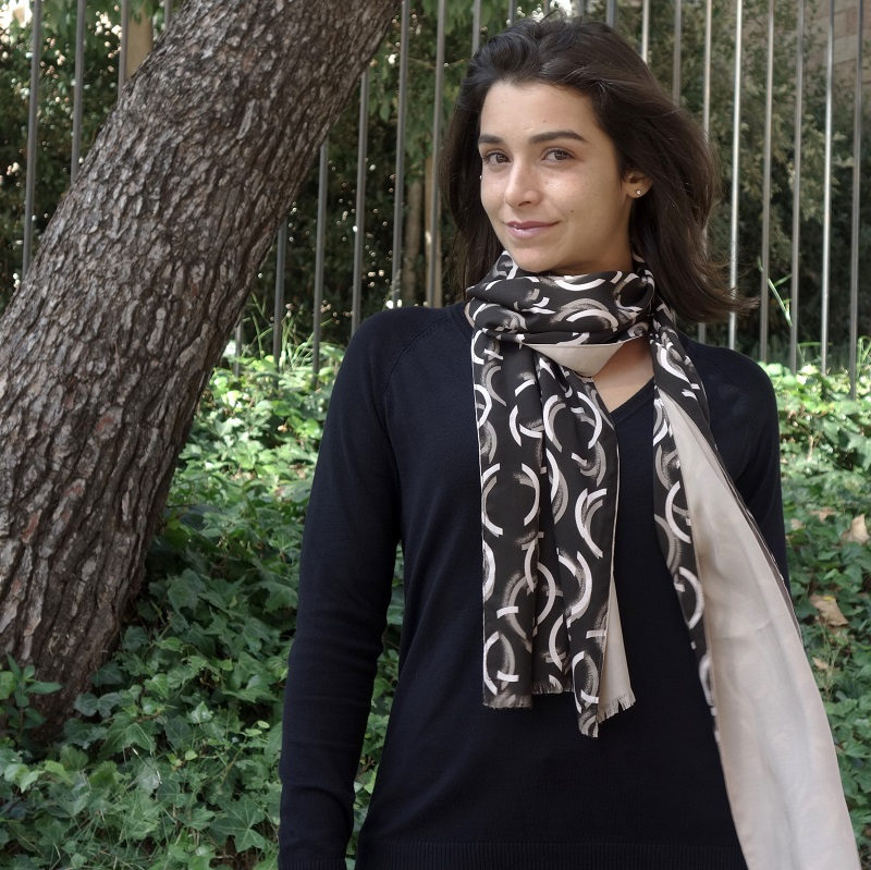 fular mujer marron elegante look by lyly
