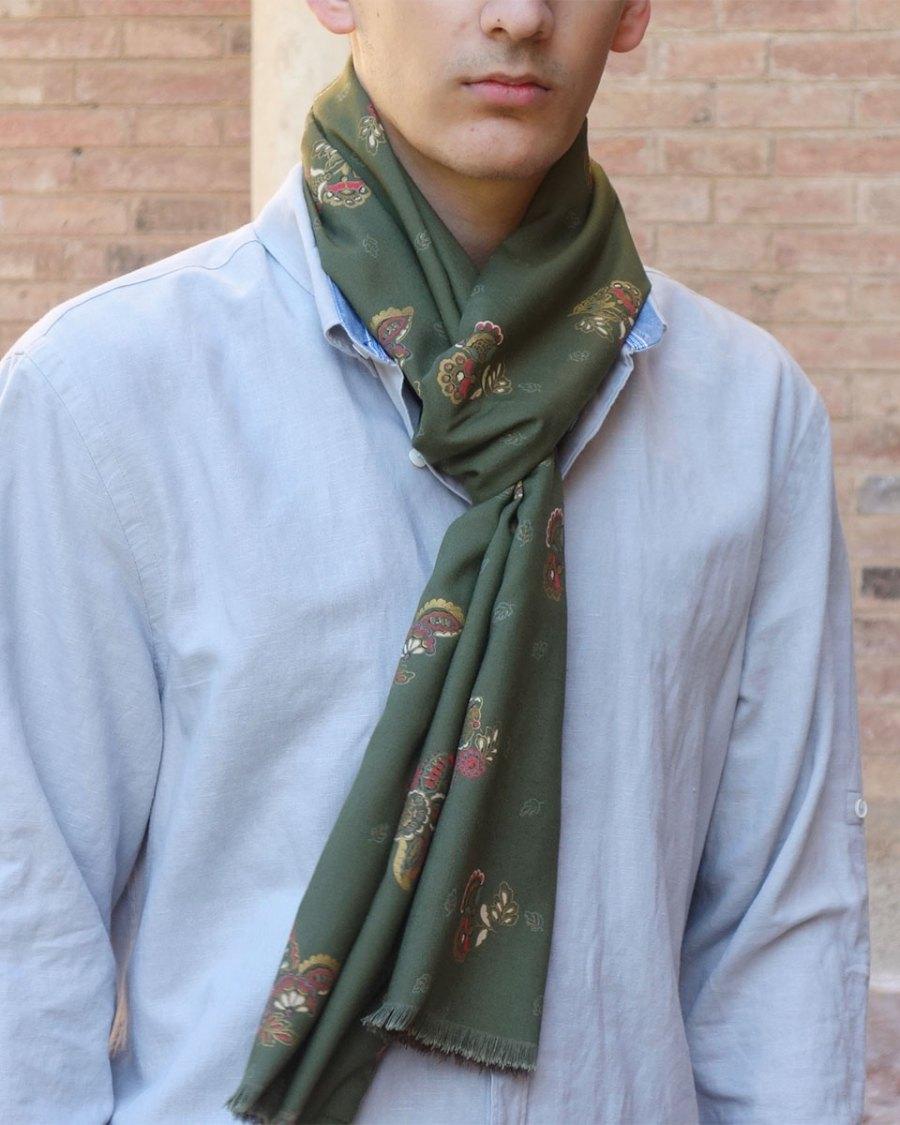Bufanda hombre verde marron moda sostenible lool by lyly